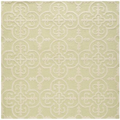 Marlen Light Green/Ivory Area Rug Rug Size: Square 6