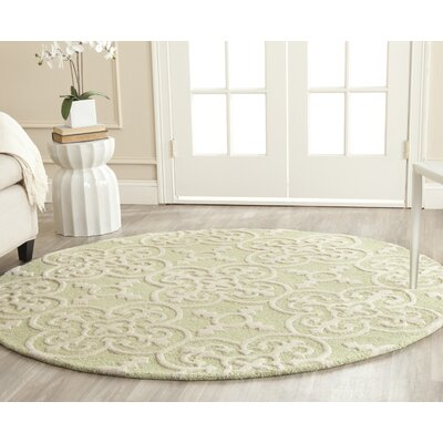 Marlen Light Green/Ivory Area Rug Rug Size: Round 6