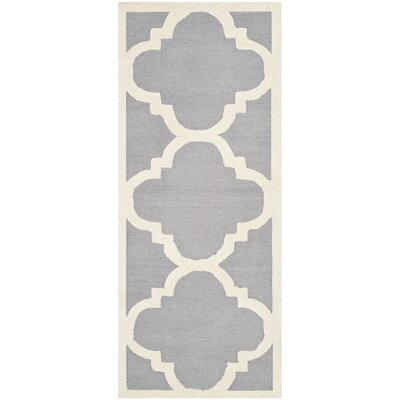 Martins Silver/Ivory Area Rug Rug Size: Runner 26 x 12