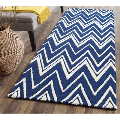 Martins Hand-Tufted Wool Navy/Ivory Area Rug Rug Size: Runner 26 x 6