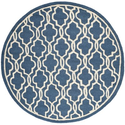 Martins Hand-Tufted Wool Navy/Ivory Area Rug Rug Size: Round 6