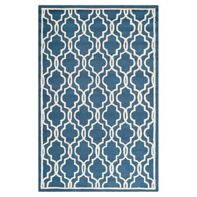 Martins Hand-Tufted Wool Navy/Ivory Area Rug Rug Size: Rectangle 6 x 9