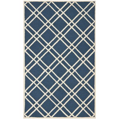 Martins Hand-Tufted Wool Navy Blue/Ivory Area Rug Rug Size: Rectangle 26 x 4