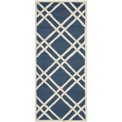 Martins Hand-Tufted Wool Navy Blue/Ivory Area Rug Rug Size: Runner 26 x 6