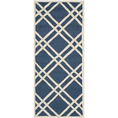Martins Navy Blue/Ivory Area Rug Rug Size: Runner 26 x 6