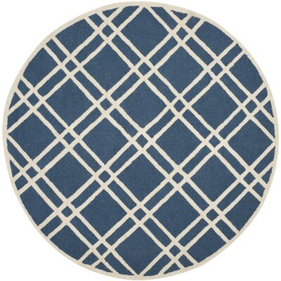 Martins Navy Blue/Ivory Area Rug Rug Size: Round 6