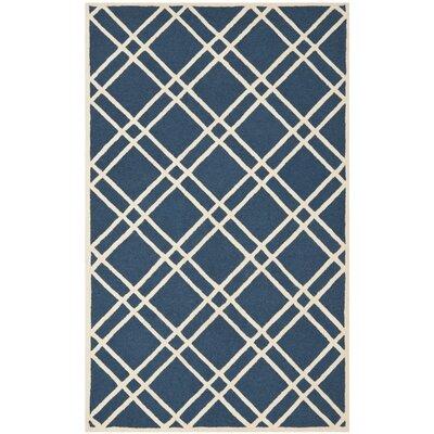 Martins Navy Blue/Ivory Area Rug Rug Size: Square 6