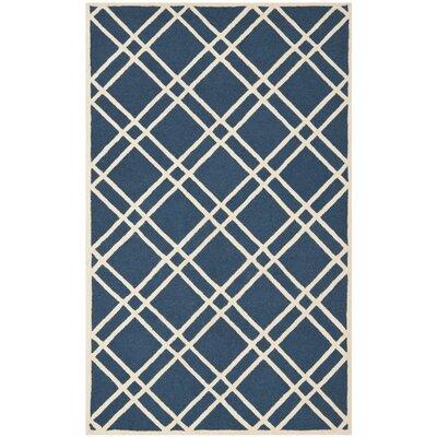 Martins Navy Blue/Ivory Area Rug Rug Size: Square 8
