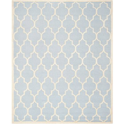 Charlenne Hand-Tufted Wool Light Blue/Ivory Area Rug Rug Size: Rectangle 12 x 18