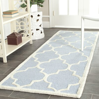 Charlenne Hand-Tufted Wool Light Blue/Ivory Area Rug Rug Size: Runner 26 x 6