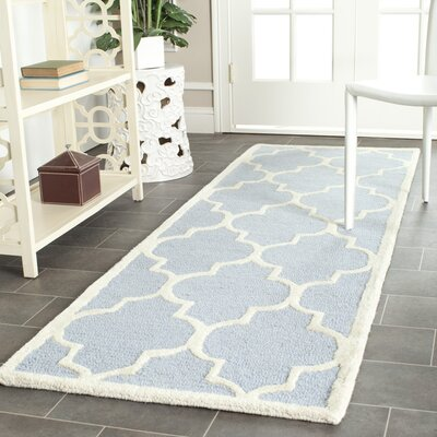 Charlenne Hand-Tufted Wool Light Blue/Ivory Area Rug Rug Size: Runner 26 x 10