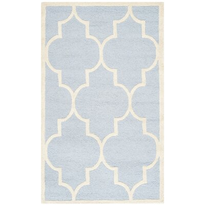 Charlenne Hand-Tufted Wool Light Blue/Ivory Area Rug Rug Size: Rectangle 2 x 3
