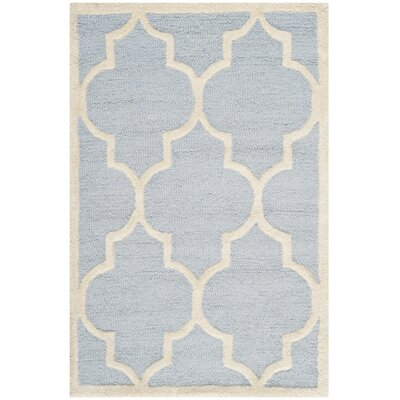 Charlenne Hand-Tufted Wool Light Blue/Ivory Area Rug Rug Size: Rectangle 9 x 12
