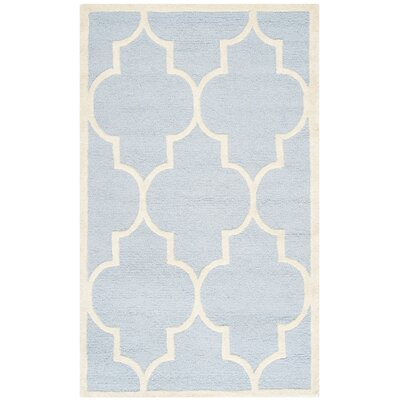 Charlenne Hand-Tufted Wool Light Blue/Ivory Area Rug Rug Size: Rectangle 26 x 4