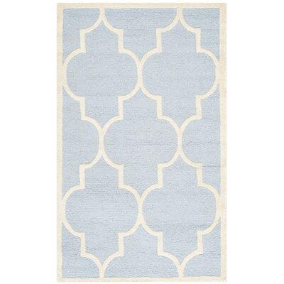 Charlenne Light Blue/Ivory Area Rug Rug Size: 6 x 9