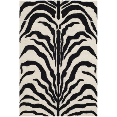 Roloff Hand-Tufted Wool Ivory/Black Area Rug Rug Size: Rectangle 4 x 6