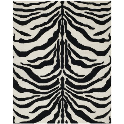 Roloff Hand-Tufted Wool Ivory/Black Area Rug Rug Size: Rectangle 6 x 9