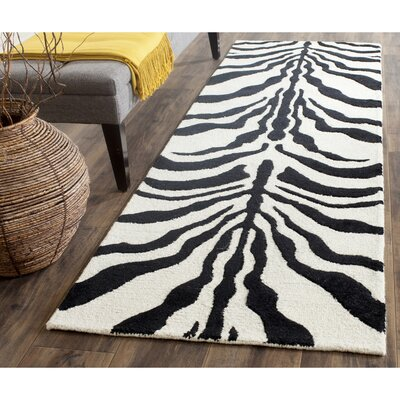 Roloff Hand-Tufted Wool Ivory/Black Area Rug Rug Size: Runner 26 x 8