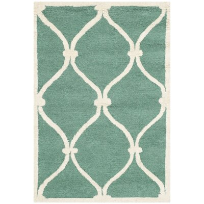 Martins Hand-Tufted Wool Teal/Ivory Area Rug Rug Size: Rectangle 2 x 3