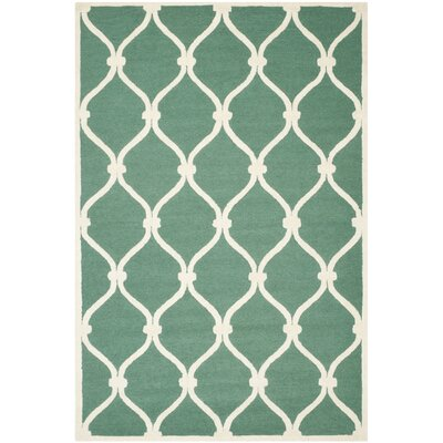 Martins Hand-Tufted Wool Teal/Ivory Area Rug Rug Size: Rectangle 9 x 12