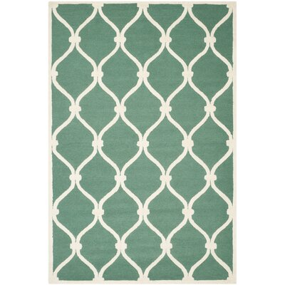 Martins Hand-Tufted Wool Teal/Ivory Area Rug Rug Size: Rectangle 6 x 9