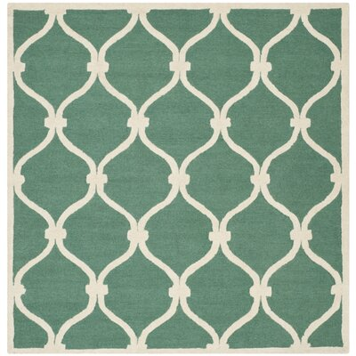 Martins Hand-Tufted Wool Teal/Ivory Area Rug Rug Size: Square 8