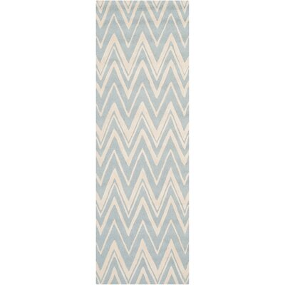 Martins Hand-Tufted Wool Blue/Ivory Indoor/Outdoor Area Rug Rug Size: Runner 26 x 8