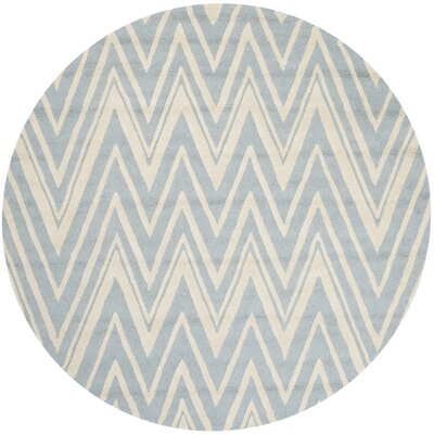 Martins Hand-Tufted Wool Blue/Ivory Indoor/Outdoor Area Rug Rug Size: Round 6