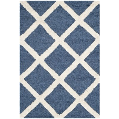 Martins Hand-Tufted Wool Navy Blue/Ivory Area Rug Rug Size: Rectangle 4 x 6