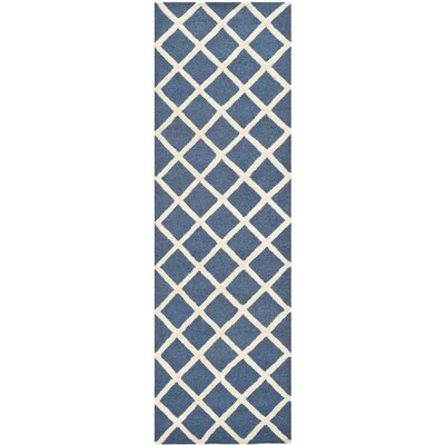 Martins Hand-Tufted Wool Navy Blue/Ivory Area Rug Rug Size: Runner 26 x 8