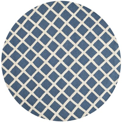Martins Hand-Tufted Wool Navy Blue/Ivory Area Rug Rug Size: Round 6