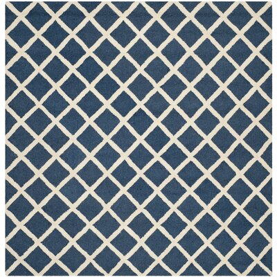 Martins Hand-Tufted Wool Navy Blue/Ivory Area Rug Rug Size: Square 8