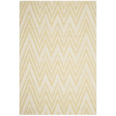 Martins Hand-Tufted Light Gold/Ivory Area Rug Rug Size: Rectangle 6 x 9