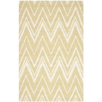 Martins Hand-Tufted Light Gold/Ivory Area Rug Rug Size: Rectangle 3 x 5