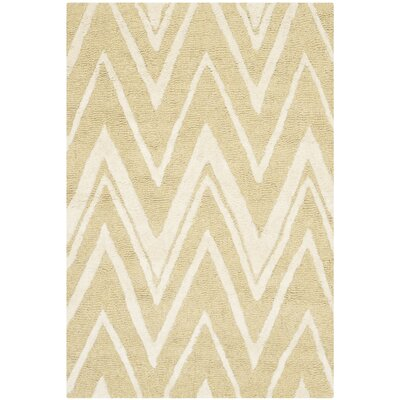 Martins Hand-Tufted Light Gold/Ivory Area Rug Rug Size: Rectangle 4 x 6
