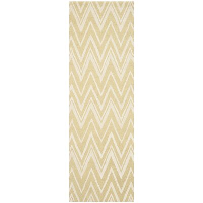 Martins Hand-Tufted Light Gold/Ivory Area Rug Rug Size: Runner 26 x 8