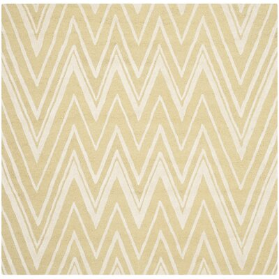 Martins Hand-Tufted Light Gold/Ivory Area Rug Rug Size: Square 6