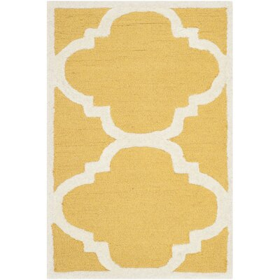 Martins Gold/Ivory Area Rug Rug Size: 4 x 4