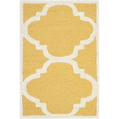 Martins Gold/Ivory Area Rug Rug Size: 8 x 8