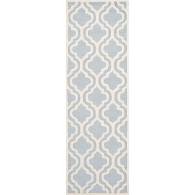 Martins Hand-Tufted Blue/Ivory Area Rug Rug Size: Runner 26 x 12