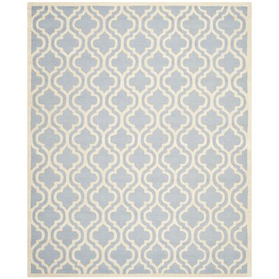 Martins Hand-Tufted Blue/Ivory Area Rug Rug Size: Rectangle 26 x 4