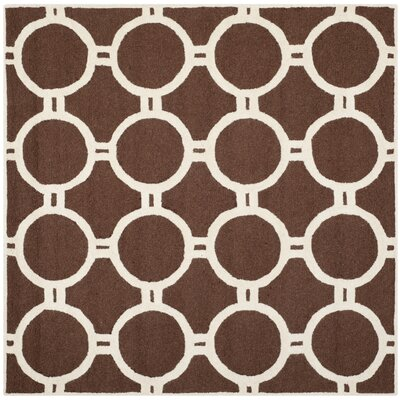 Martins Hand-Tufted Wool Dark Brown Area Rug Rug Size: Square 6