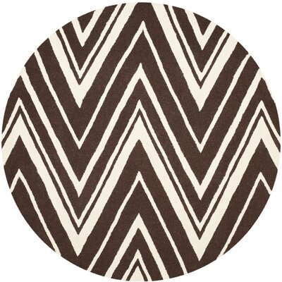 Martins Hand-Tufted Brown Area Rug Rug Size: Round 6