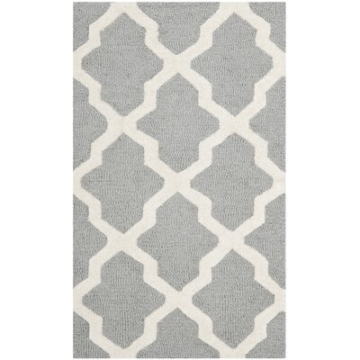 Charlenne Silver/Ivory Area Rug Rug Size: 2 x 34