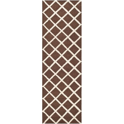 Martins Hand-Tufted Wool Dark Brown Area Rug Rug Size: Runner 26 x 8