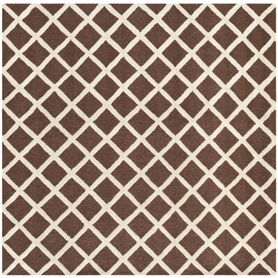 Martins Hand-Tufted Wool Dark Brown Area Rug Rug Size: Square 8