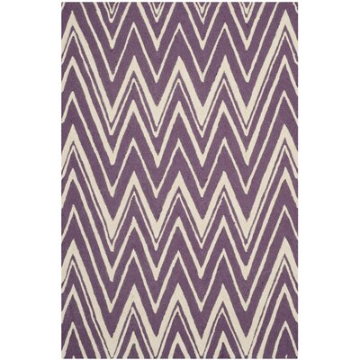 Martins Hand-Tufted Ivory/Purple Area Rug Rug Size: Rectangle 8 x 10