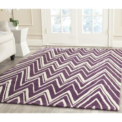 Martins Hand-Tufted Ivory/Purple Area Rug Rug Size: Rectangle 5 x 8