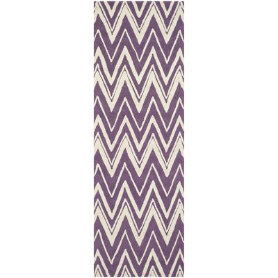 Martins Hand-Tufted Ivory/Purple Area Rug Rug Size: Runner 26 x 8