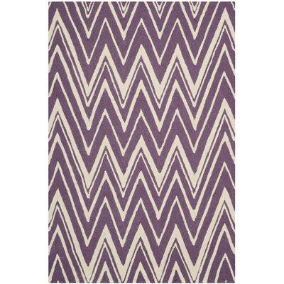 Martins Purple/Ivory Area Rug Rug Size: 4 x 6